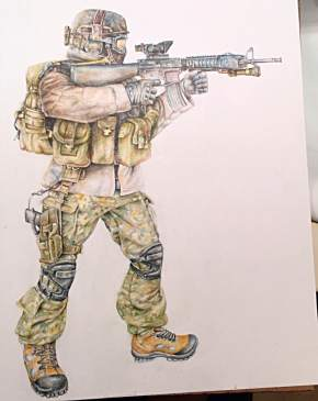 """Attack Ready"" Colored Pencil on Paper 2012"