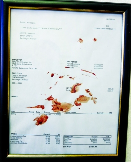 """Human Blood on Paycheck Stub"" 2012"